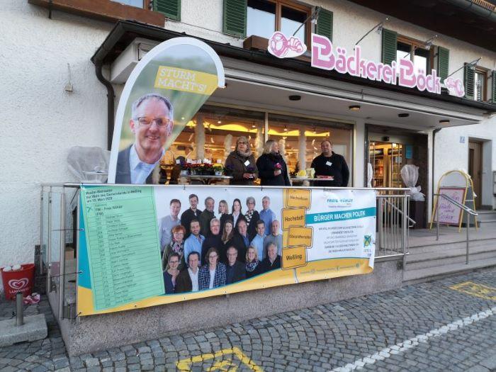 Infostand der Freien Wähler Weßling vor der Bäckerei Böck am 22.02.20
