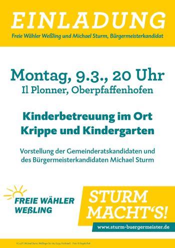 Plakat Veranstaltung der Freien Wähler weßling im Il Plonner am 09.03.20